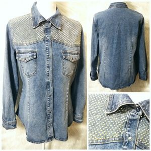 💖 DG2 by Diane Gilman Denim Button Down Jacket 💖